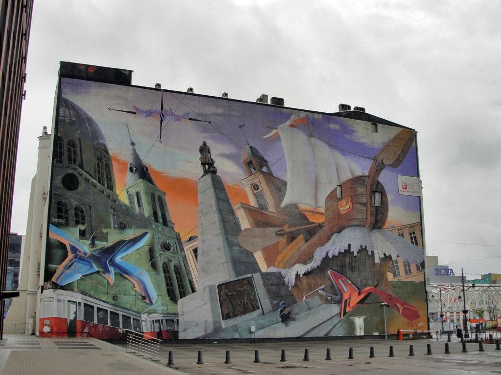 Łódź ciekawy mural Piotrkowska