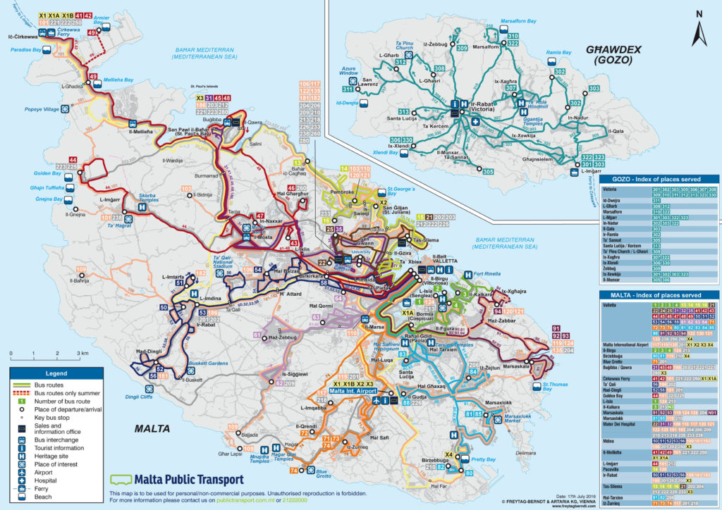 Orientacyjny schemat komunikacji publicznej na Malcie i Gozo. Źródło:www.publictransport.com.mt