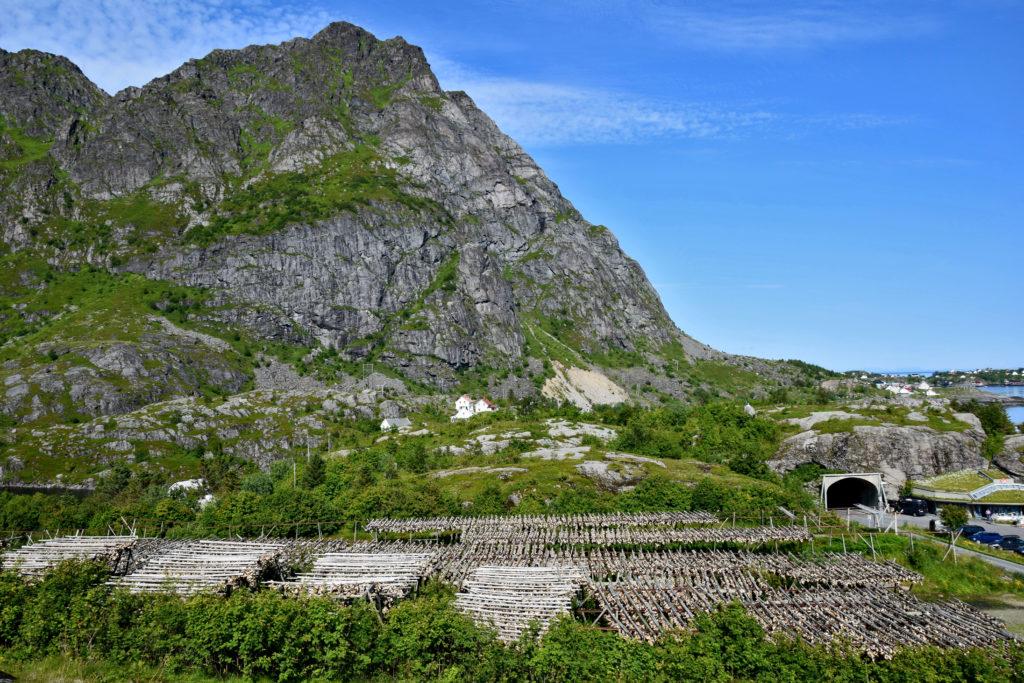 Lofoty, miejscowość A. Ågvatnet trekking wokół jeziora i suszące się ryby. Tunel.
