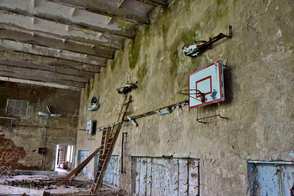 Prypeć, Czarnobyl. Sala gimnastyczna. Opuszczone miejsca