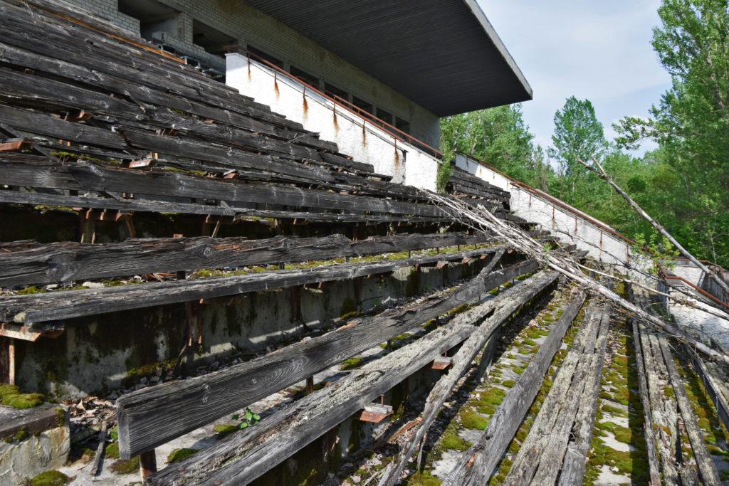 Prypeć, Czarnobyl. Stadion sportowy. Opuszczone miejsca
