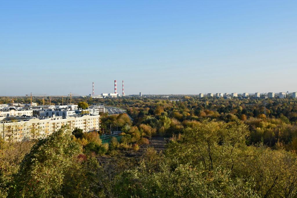Warszawa, ciekawe miejsca. Kopiec Powstania Warszawskiego, widok na miasto