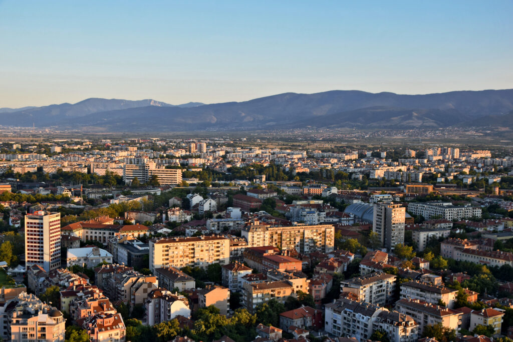 Wzgórze Bunarjik (Bunardżik) w Plovdiv (Płowdiw). Widok na miasto.
