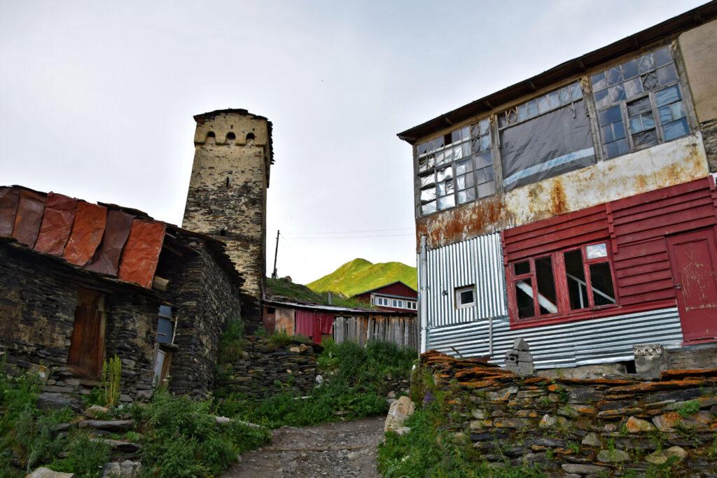 Kaukaz Bieda ushguli Gruzja, wieża, dom bez okien