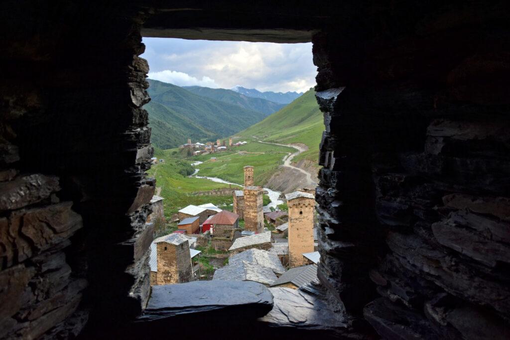 Swanetia, Gruzja - Ushguli widok na zabudowę
