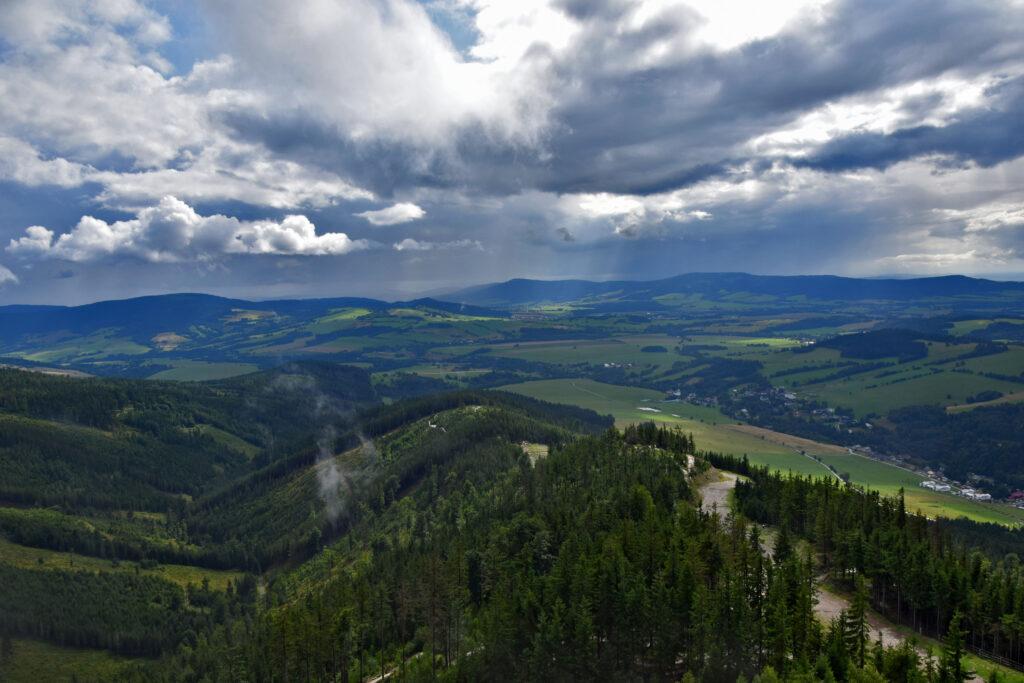Ścieżka w koronach drzew w obłokach Dolna Morawa