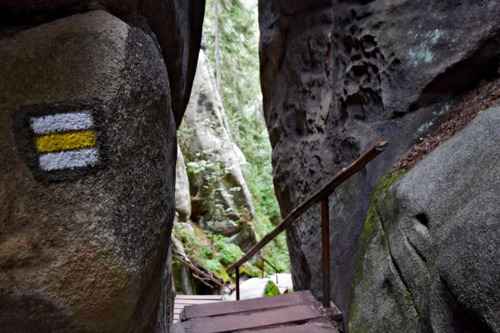 Adrspach żółty szlak yellow trail