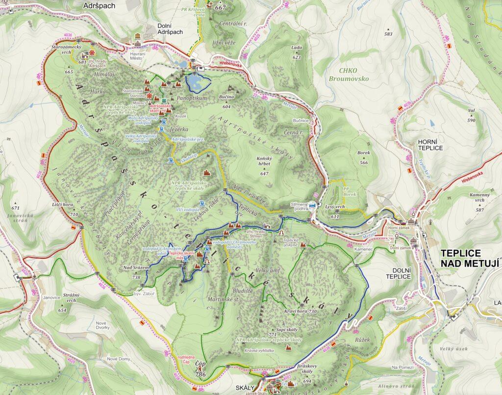 Adrspachsko-teplickie skalne miasto mapa