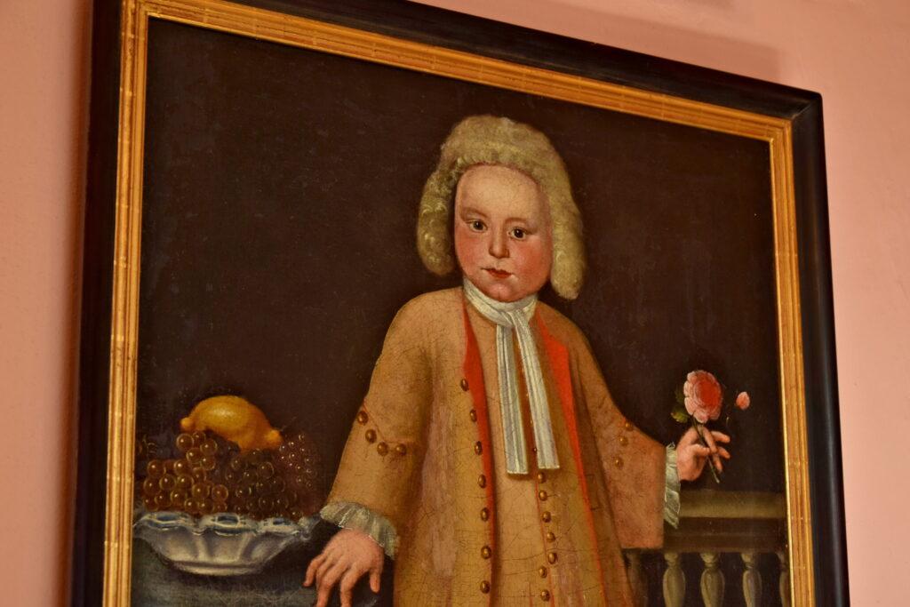 Castolovice zamek w Czechach, dziecko na obrazie